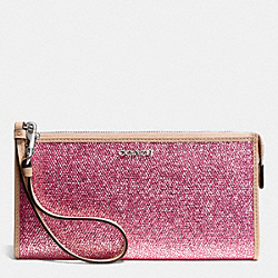 COACH F51524 Bleecker Zippy Wallet In Metallic Crackle Canvas  SILVER/NEUTRAL PINK
