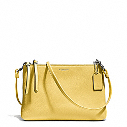 COACH F51528 Bleecker Pebbled Leather Triple Zip Crossbody SILVER/PALE LEMON