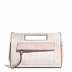COACH F51536 - BLEECKER POCKET CLUTCH IN COLORBLOCK MIXED LEATHER  SILVER/CAMEL/VACHETTA