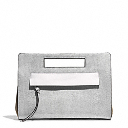COACH F51536 - BLEECKER POCKET CLUTCH IN COLORBLOCK MIXED LEATHER  SILVER/BLACK MULTI
