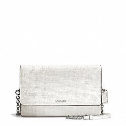 COACH F51556 - MADISON EMBOSSED LEATHER CROSSTOWN BAG SILVER/WHITE