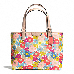 COACH F51596 Signature Stripe Floral Top Handle Tote