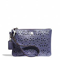 COACH F51609 Metro Eyelet Leather Small Wristlet SILVER/SLATE