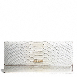 COACH F51617 Madison Pinnacle Python-embossed Soft Wallet LIGHT GOLD/WHITE IVORY