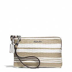 COACH F51619 Bleecker Embossed Woven Leather L-zip Small Wristlet SILVER/FAWN/WHITE