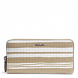 COACH BLEECKER EMBOSSED WOVEN LEATHER ACCORDION ZIP WALLET - SILVER/FAWN/WHITE - F51620