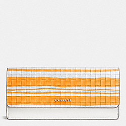 COACH F51621 Bleecker Soft Wallet In Woven Leather  SILVER/BRIGHT MANDARIN/WHITE