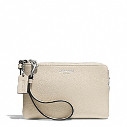 COACH F51622 Bleecker Pebbled Small Wristlet SILVER/ECRU