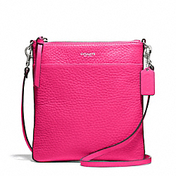 COACH F51629 - BLEECKER PEBBLED LEATHER NORTH/SOUTH SWINGPACK SILVER/PINK RUBY