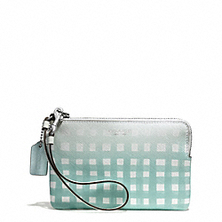 COACH F51631 Gingham Saffiano L-zip Small Wristlet SILVER/WHITE/DUCK EGG