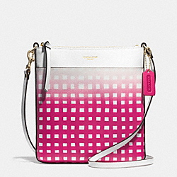 COACH F51632 - GINGHAM SAFFIANO NORTH/SOUTH SWINGPACK LIGHT GOLD/WHITE/PINK RUBY