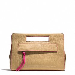 BLEECKER EDGEPAINT LEATHER POCKET CLUTCH - f51635 - SILVER/CAMEL/PINK RUBY