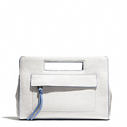 COACH F51635 Bleecker Edgepaint Leather Pocket Clutch SILVER/WHITE/BLUE OXFORD