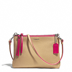 COACH F51636 Bleecker Edgepaint Triple Zip Crossbody SILVER/CAMEL/PINK RUBY