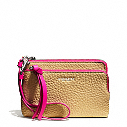 COACH F51637 Bleecker Double L-zip Wristlet In Edgepaint Leather  SILVER/CAMEL/PINK RUBY