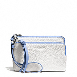 COACH F51637 Bleecker Edgepaint Double L-zip Wristlet SILVER/WHITE/BLUE OXFORD