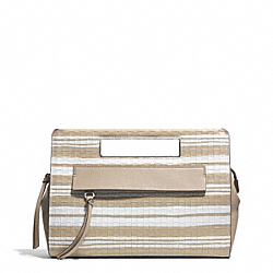COACH F51640 Bleecker Embossed Woven Pocket Clutch SILVER/FAWN/WHITE