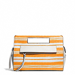 COACH BLEECKER EMBOSSED WOVEN POCKET CLUTCH - SILVER/BRIGHT MANDARIN/WHITE - F51640