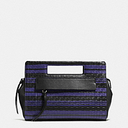 COACH BLEECKER EMBOSSED WOVEN POCKET CLUTCH - SILVER/BLUE INDIGO/BLACK - F51640