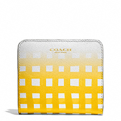 COACH F51642 Saffiano Ombre Gingham Small Wallet LIGHT GOLD/WHITE/SUNGLOW