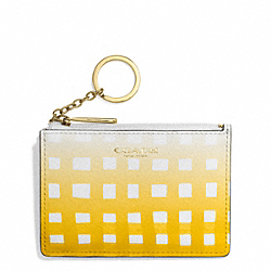 COACH F51644 Gingham Saffiano Mini Skinny LIGHT GOLD/WHITE/SUNGLOW