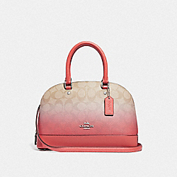 MINI SIERRA SATCHEL IN OMBRE SIGNATURE CANVAS - F51664 - LIGHT KHAKI/PINK MULTI/SILVER