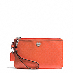 COACH F51677 Perforated Embossed Liquid Gloss Medium Wristlet SILVER/ORANGE