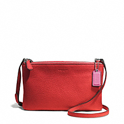 COACH F51682 - PARK LEATHER LYLA DOUBLE GUSSET CROSSBODY SILVER/VERMILLION