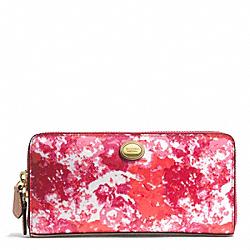 COACH F51695 Peyton Floral Print Accordion Zip Wallet BRASS/PINK MULTICOLOR