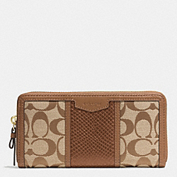 COACH F51698 Signature Stripe With Snake Accordion Zip Wallet IMITATION METAL/KHAKI/SADDLE
