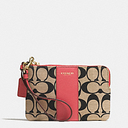COACH F51702 L-zip Small Wristlet In Printed Signature  GD/LT KHA BLK/LOGANBERRY
