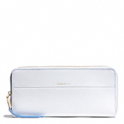 COACH F51716 Edgepaint Leather Slim Continental Zip Wallet GOLD/WHITE/BLUE OXFORD