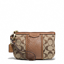 COACH F51724 Signature Stripe With Snake Medium Wristlet IMITATION METAL/KHAKI/SADDLE