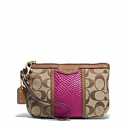COACH F51724 Signature Stripe With Snake Medium Wristlet IMITATION METAL/KHAKI/CHERRY