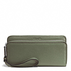 COACH F51725 Park Leather Double Accordion Zip Wallet SILVER/OLIVE