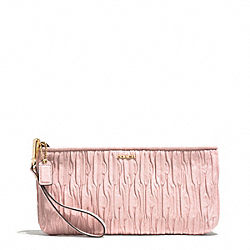 MADISON GATHERED LEATHER ZIP TOP CLUTCH - f51741 - LIGHT GOLD/NEUTRAL PINK