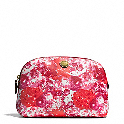 COACH F51745 Peyton Floral Print Cosmetic Case BRASS/PINK MULTICOLOR