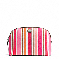 PEYTON MULTI STRIPE COSMETIC CASE - f51749 - SILVER/PINK MULTICOLOR