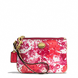 COACH F51753 Peyton Floral Print Small Wristlet BRASS/PINK MULTICOLOR