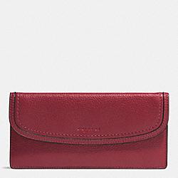 COACH F51762 Park Leather Soft Wallet SILVER/CRIMSON