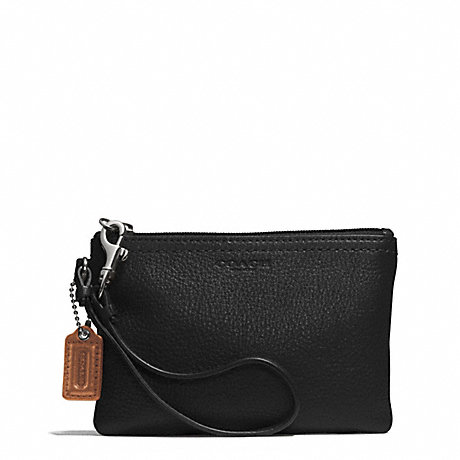 COACH f51763 PARK LEATHER SMALL WRISTLET SILVER/BLACK