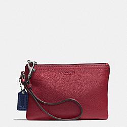 COACH F51763 Park Leather Small Wristlet SILVER/CRIMSON