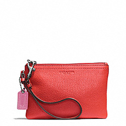 COACH PARK LEATHER SMALL WRISTLET - SILVER/VERMILLION - F51763