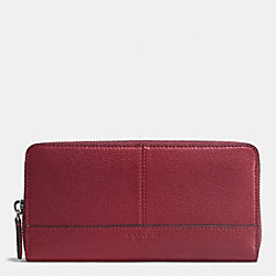 COACH F51764 Park Leather Accordion Zip Wallet SILVER/CRIMSON