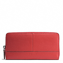 PARK LEATHER ACCORDION ZIP WALLET - f51764 - SILVER/VERMILLION