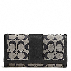 COACH PARK SIGNATURE CHECKBOOK WALLET - SILVER/BLACK/WHITE/BLACK - F51767
