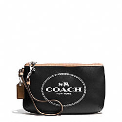 COACH HORSE AND CARRIAGE LEATHER MEDIUM WRISTLET - SILVER/BLACK - F51788