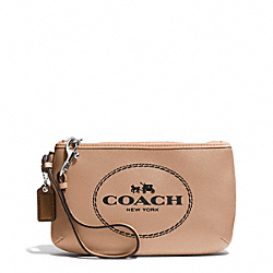 COACH F51788 Horse And Carriage Leather Medium Wristlet SILVER/LIGHT KHAKI