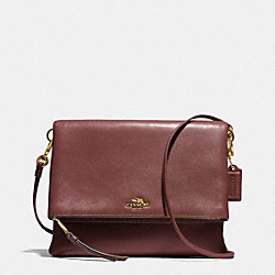 COACH F51896 - MADISON FOLDOVER CROSSBODY IN LEATHER  LIGHT GOLD/BRICK