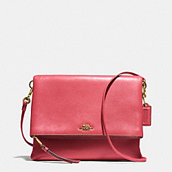 COACH F51896 - MADISON FOLDOVER CROSSBODY IN LEATHER  LIGHT GOLD/LOGANBERRY